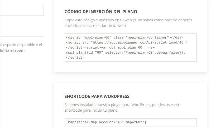 Obtén el shortcode a usar con el plugin para WordPress de planos interactivos