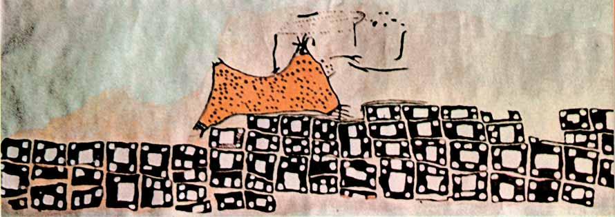 Supuesto plano de Çatalhöyük, el más antiguo de la historia. En la aprte inferior cuadros negros representan las casas y en la superior un volcán.