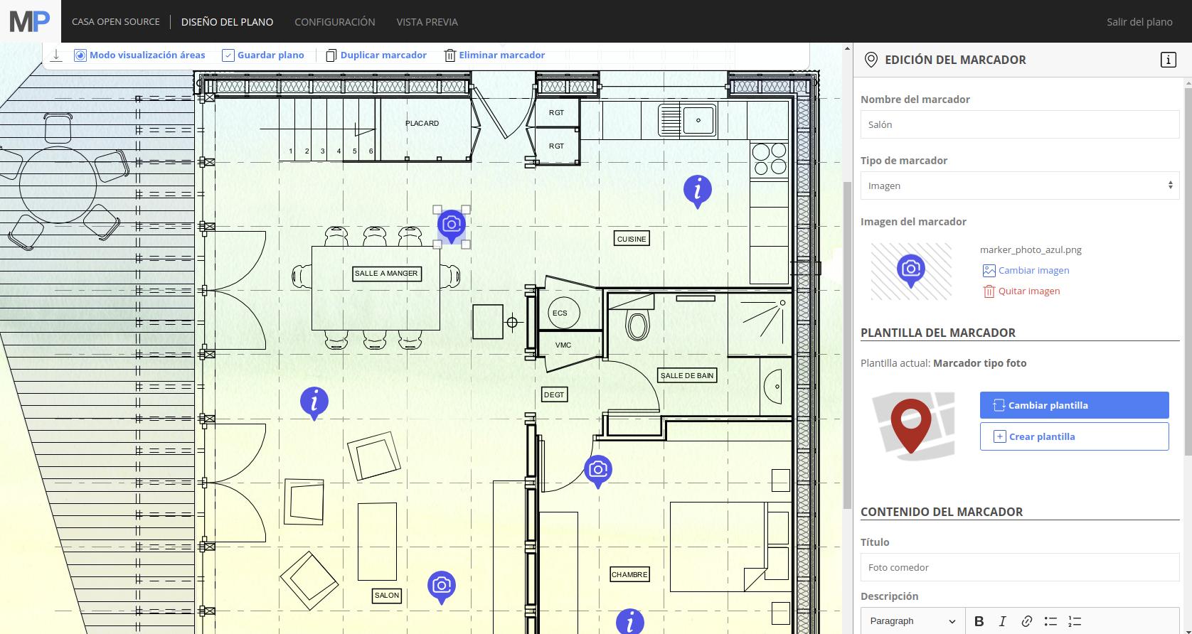Interficie para hacer el plano interactivo de una casa